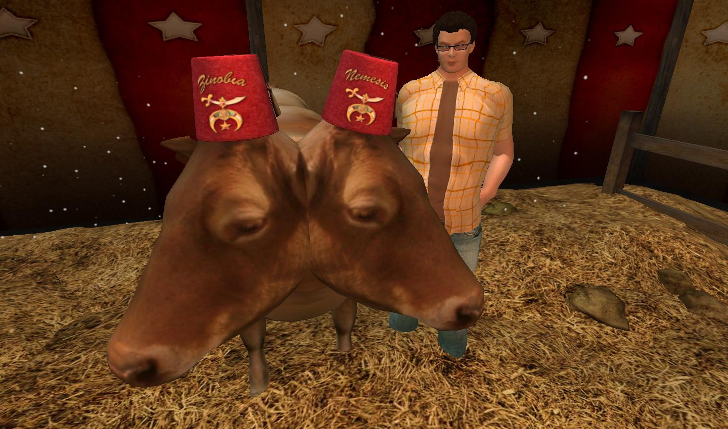 Fez-wearing Second Life two-headed cow
