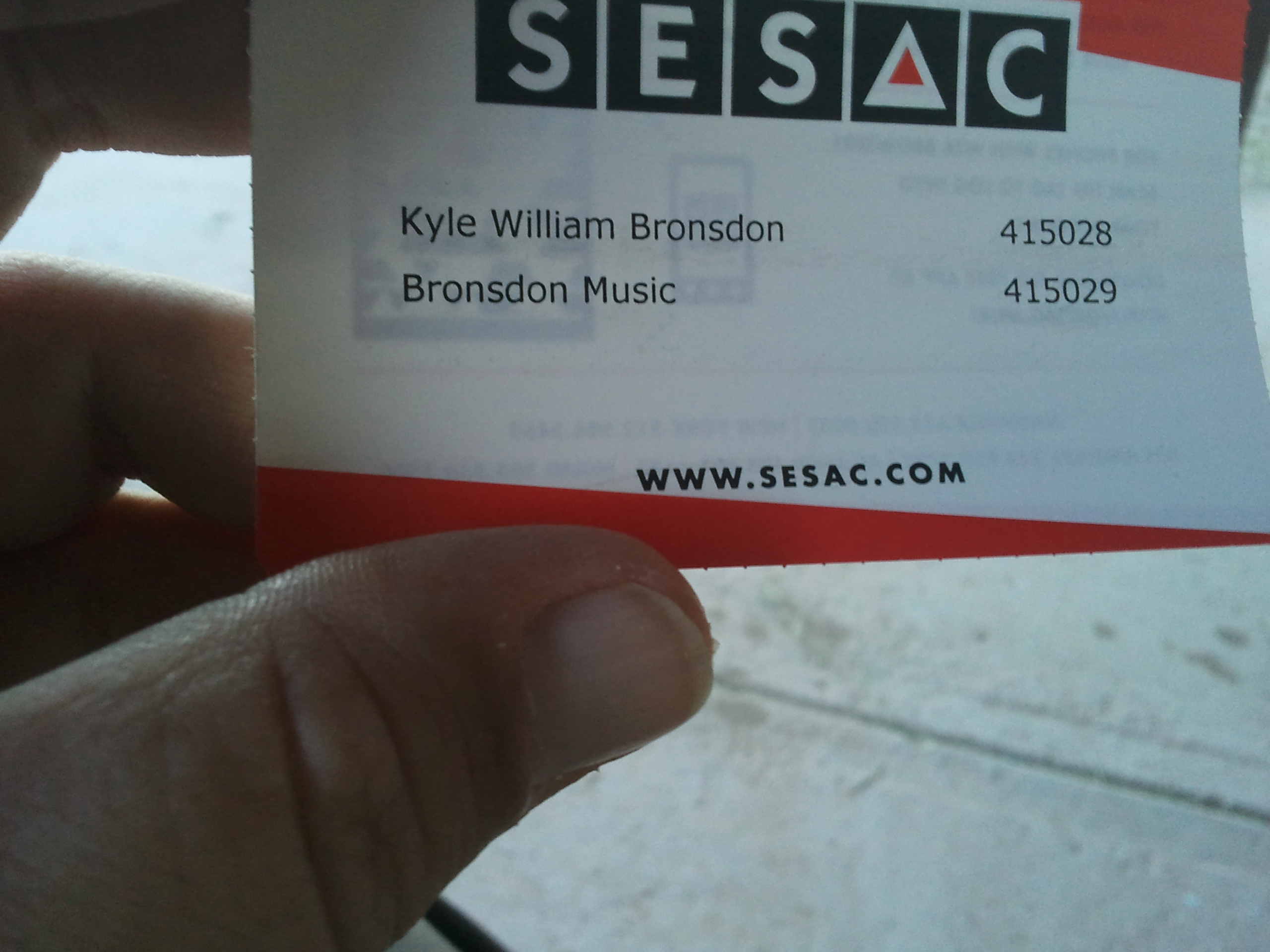 My SESAC card