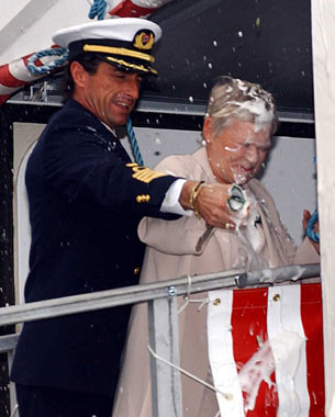 Dame Judy Dench christening the Carnival Legend
