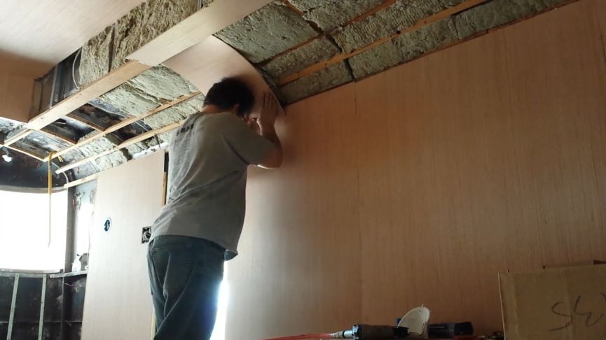 Curved plywood paneling installation – Kyle Bronsdon